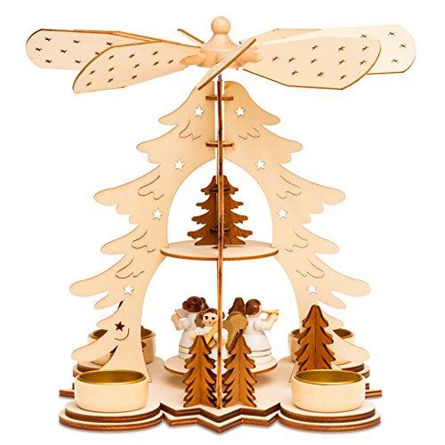SIKORA P27 Pyramide de Noël en bouleau avec bougies chauffe-plat - H : 26 cm