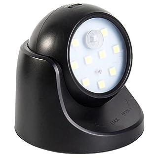 Bewegungsmelder 360 ° Wand Kabellos Batteriebetrieben Nachtlicht Sicherheitslicht mit PIR-Sensor (Schwarz)