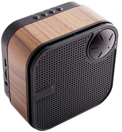 Altavoz inalámbrico de Madera Bluetooth, Recargable, Compacto y portátil con entradas de Tarjeta TF/MicroSD y micrófono para Llamadas con Manos Libres