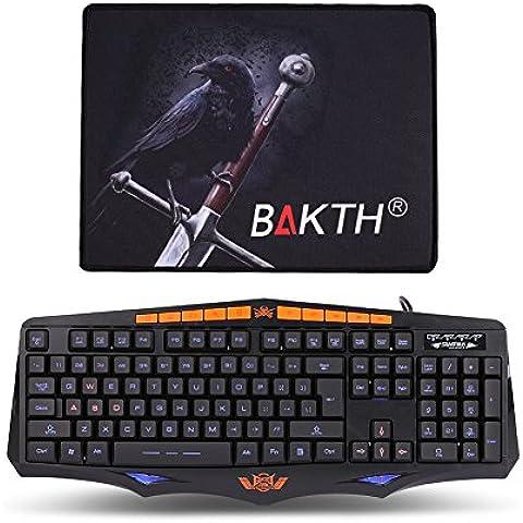 BAKTH Gaming Teclado Ergonómico Diseño Ajustable 3 colores de retroiluminación Caracteres con retroiluminación (interfaz USB, Teclado de EE.UU. QWERTY Inglés) para Juegos PC Windows o Mac OS Negro [Alfombrilla de Ratón hermoso como regalo]