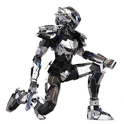 mensionales Metallpuzzle montiert Spielzeug Metallroboter Kinderferiengeschenk Modell Silber + Werkzeug B Einheitsgröße ()