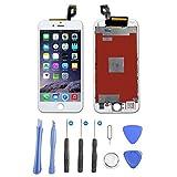 Hepooya LCD Display für iPhone 6S Bildschirm, LCD Touchscreen für iPhone 6S Display Komplett Bildschirm Reparatur Glas mit Werkzeuge und Magnet Schraubenkarte (Weiß)