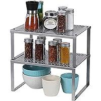 LIANTRAL étagère cuisine lot de 2, Organisateur d'armoire de cuisine, rangement cuisine autoportant en métal, empilables…