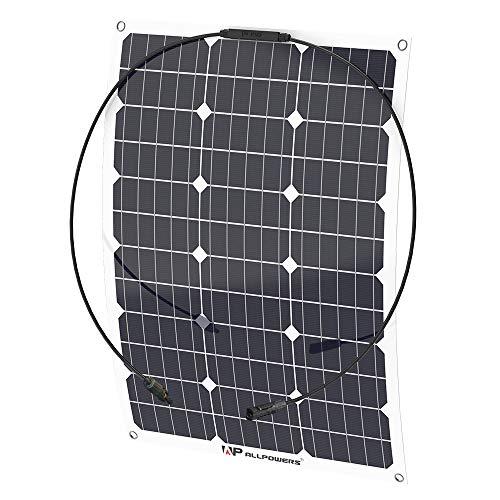 ALLPOWERS 18V 12V 50W Solarzelle Solarmodul Solarpanel, Monokristallin Flexibel Solarpanel Outdoor wasserdichte olarladegerät Charger mit MC4 Ladekabel für Wohnmobil, Auto, Boot 12V Batterien