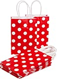 """20pcs Polka Dot Paper Gift Bags Party Bag DIKETE® Birthday Wedding Graduation Baby Shower Christmas Shopping Favor Present bag Handle Wrapping bags 7.7"""" H x 5.5"""" L x 3.1"""" W (Red)"""