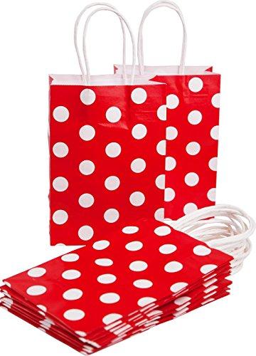 ktüten Premium Geschenktüte, 20 stück DIKETE Tragetaschen Geschenkbeutel Partytüten mit Griffen - 14x8x20 cm Red Polka Dot weiß (Halloween-papier-geschenk-taschen)