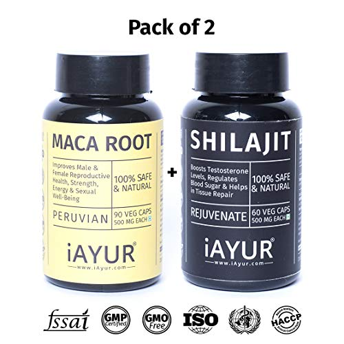iAYUR Shilajit Pure Himalayan 500 Mg 60 Veg Caps & Maca Root Peruvian 400 Mg 90 Veg Caps | Stamina & Energy Value Pack of 2