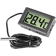 Hrph Termómetro Digital LCD para Frigorificos Congeladores Refrigeradores Refrigeradores Mini 2M Sonda Negro