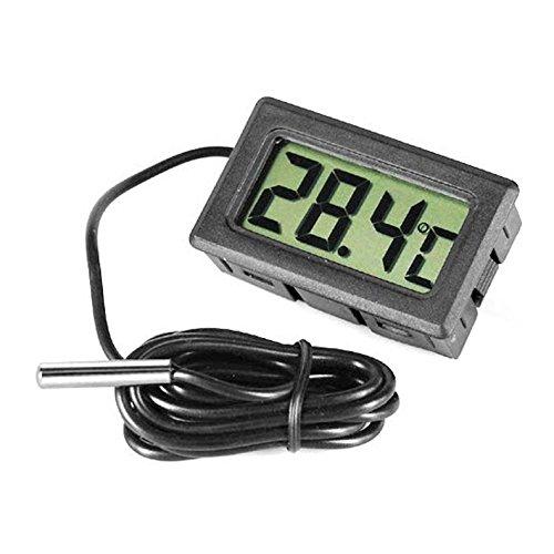 Hrph Digital LCD Thermometer für Kühlschränke Freezers Kühler Flüssigkeitskühler Mini 2M Probe Schwarz -