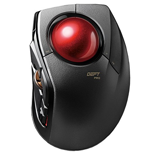 ELECOM m-dpt1mrxbk Zeitgeist Pro Gaming Trackball Maus | verdrahtet, drahtlos, und Bluetooth | Hochleistungs-Ruby Ball | Advanced Ansprache, 8Map Tasten | Scrollen (Trackball Ball)
