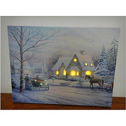 XYXY giorno di Natale decorazione di paesaggio dipinto illuminato LED Galleria avvolto tela arte . 40*50