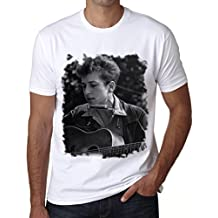 Bob Dylan Guitar B, Camiseta para las hombres, manga corta, cuello redondo, blanco