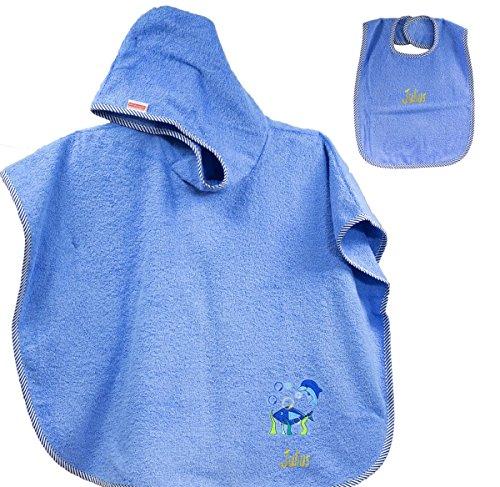 Feiner-Tropfen Babyhandtuch mit Kapuze Junge Kapuzenhandtuch/Kapuzentuch Badeponcho 75x120 cm groß - inkl. Lätzchen Fisch Fische Blau...