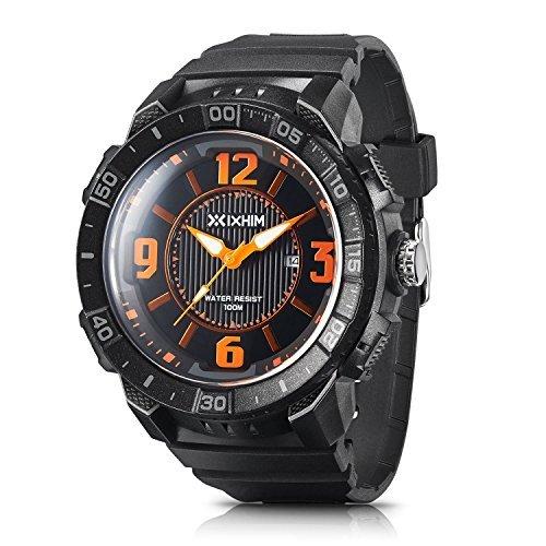 Herren Sport Quarz Armbanduhr # a2200-ko von ixhim–Analog Time Display Casual Outdoor Uhr, Orange Akzenten–100m 330FT Wasser beständig (Traditionelle Akzente)
