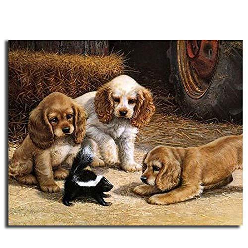 Leezeshaw Ölgemälde, Malen nach Zahlen, Heimdekoration, Wandbild, Geschenk – 3 Hunde Spielen mit Einem Skunk 40,6 x 50,8 cm ()