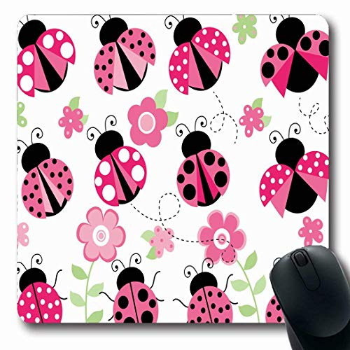 Luancrop Mousepads für Computer Natur Red Lady Marienkäfer Garten Pink Wildlife Bug Cute Flowers Insekt Marienkäfer Design Leaf rutschfeste Oblong Gaming Mouse Pad Womans Garten