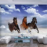 decomonkey | Fototapete Pferde Natur 250x175 cm XL | Tapete | Wandbild | Bild | Fototapeten | Tapeten | Wandtapete | Wanddeko | Himmel Tiere blau braun Sand | FOC0047a5XL