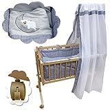 Babywiege Kinderbett Babybett Stubenwagen Beistellbett + 9 tlg. Zubehör (Bild: Amazon.de)