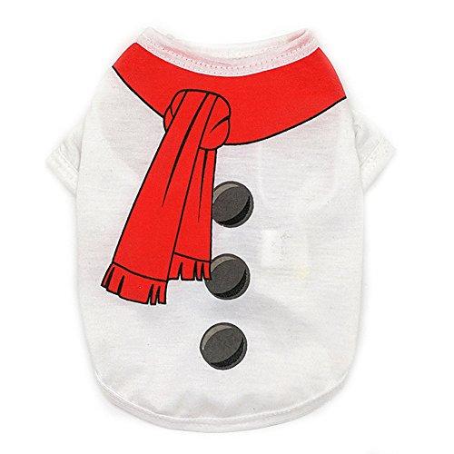 Kostüm Für Schneemann Hund (Weihnachten Hund Kleider,Tonsee Alle Jahreszeiten Kleine Haustier Kleidung Hund Shirt Snow Men Kleidung(XS,S,M,L) (S,)