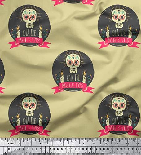 Soimoi Beige Viskose Chiffon Stoff Text & Schädel Halloween Stoff drucken Meter 42 Zoll breit