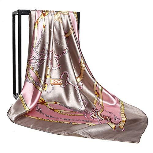 ALPNXZ Seidenschal Damen 90 cm * 90 cm Frauen Hijab Kopftuch Weibliche Mode Druck Quadrat Schals Seidig-Satin Seidenschal Für Damen Geschenk -