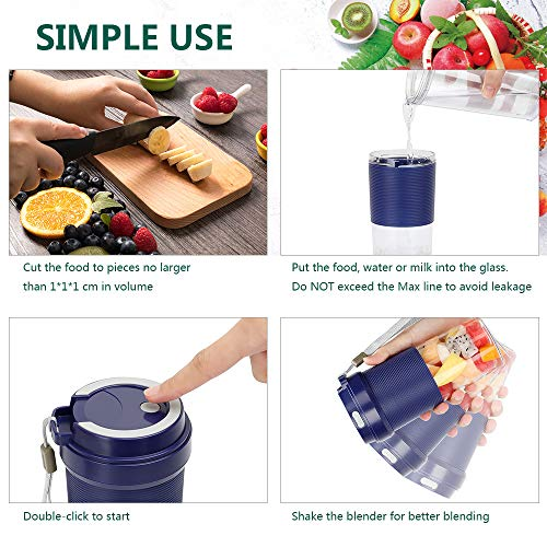 51wlayziR4L. SS500  - POWERGIANT Portable Blender, Mini Personal Blender USB Rechargeable Cordless Small Juicer Cup Smoothie Blender Maker for…