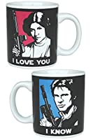 Tazza di Star Wars con motivo di Han Solo e Principessa Leia. Licenza ufficiale della serie TV in confezione regalo. 320ml in ceramica. Multicolore.