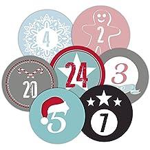 Frau Wundervoll Adventskalenderzahlen für 2 Kalender bunt-pastell / Weihnachtskalender Weihnachten Advent Kalender