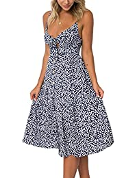 d69bded979ec Ecowish Womens Dresses Summer Tie Front V-Neck Spaghetti Strap Button Down  A-Line
