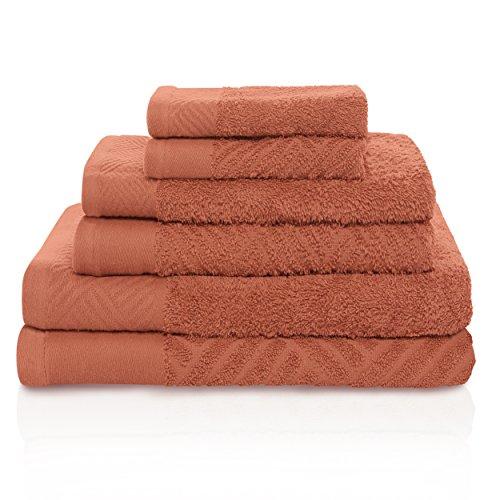 Superior Handtuchset 100% ägyptische Baumwolle Set, Korb Weave Strukturierte Jacquard, Super Weich und saugstark, 2Badetücher, 2Handtücher, und 2Gesicht Handtücher, Made in Ägypten Pecan -