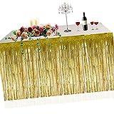 Metallic Fringe Foil Table Rock Tinsel Tabelle Vorhang für Luau Party-Geburtstags-Sommer-Jahrestag Weihnachten Tischdekoration Sunlera - 3