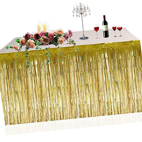e Foil Table Rock Tinsel Tabelle Vorhang für Luau Party-Geburtstags-Sommer-Jahrestag Weihnachten Tischdekoration ()