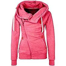 ASCHOEN - Sudadera con capucha y cremallera para mujer, manga larga