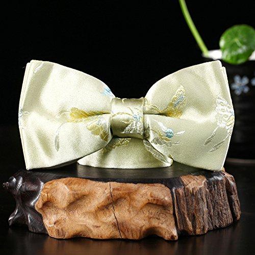 lpkone-Men's Noeud papillon Noeud papillon soie bow fait main Yellow