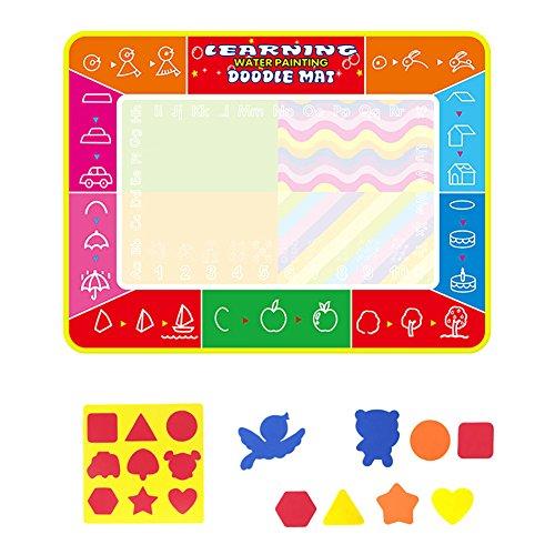 Grande Aqua Magic Doodle Tapis de l'eau Doodle Bloc de dessin (47.24 × 35.43in), enfants Eau magique Dessin livre Tableau Tapis et Magic Pen enfants jouet éducatif Cadeau avec de l'eau 3 Stylo, stylo, brosse et modèle a