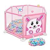 Hexagon Baby Laufstall Mit Kugeln Anti-Rollover Rosa Raumteiler Play Pen Für Mädchen, Sicherheit Indoor Kindergarten Center Kids Play Fence (Farbe : Playpen+205 balls, größe : L)