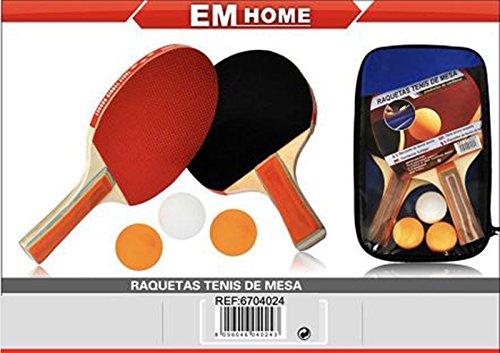 EM HOME KIT PALAS PING PONG, 2 Raquetas Ping Pong, Con Juego De 3 Bolas Y Raquetas, Raquetas De Tenis De Mesa Con Juego De Pelotas, Con Funda, Talla Única, Pin Pon.
