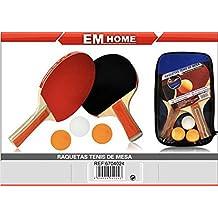 EM HOME KIT PALAS PING PONG, 2 Raquetas Ping Pong, Con Juego De 3