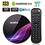 TV Box Android 9.0, Android Box TV 4K Ultra HD [4G RAM+64G ROM] WiMiUS K1 Pro Boîtier TV Dual WiFi 2.4G/5G/ LAN 100Mbps/ Amlogic...