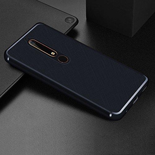 Mylboo Nokia 6 2018/Nokia 6.1 Hülle, Kreuz Textur Slim Weiches Stoßsicheres Gehäuse mit Flexiblem TPU Silikon Hybrid Schutzhülle Slim-Fit Case für Nokia 6.1 Dual SIM Smartphone Version 2018 (Blau)