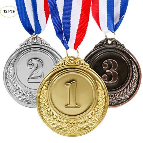 Funhoo Set von 12 Metal Medaillen Gold Silber Bronze Olympische Stil Medaille Gewinner Kinder Awards 1st 2nd 3rd für Spiel Party Sport Auszeichnungen Kollektion -