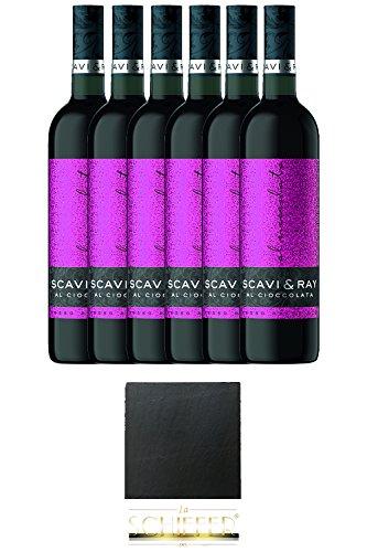 Scavi & Ray Al Cioccolata Rosso Prestigio 6 x 0,75 Liter + Schieferuntersetzer eckig ca. 9,5 cm Durchmesser