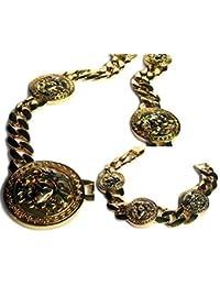 hombre XL Cabeza Medusa Miami Cubano Eslabón HipHop plateado oro Bling Cadena & Pulsera Combo