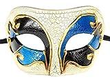 Coolwife Máscara de la Mascarada de los Hombres Vintage Venetian Crack Party Mardi Gras Ball Costume Mask (Azul Negro)