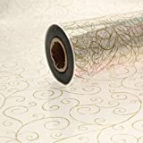10m x 80cm Roll Gold Scroll Cellophane Wrap. Florist Quality / Bouquet / Gift / Basket Wrapping