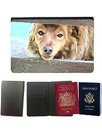 Passeport Voyage Couverture Protector // M00155750 La piel del perro Animales hocico Los // Universal passport leather cover