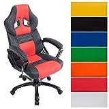CLP Racing Bürostuhl Pedro XL, Gaming Stuhl mit Kunstleder-Bezug, höhenverstellbar 46-56 cm, max. belastbar bis 180 kg, Chefsessel mit Hochwertiger Polsterung, in Verschiedenen Farben schwarz/rot