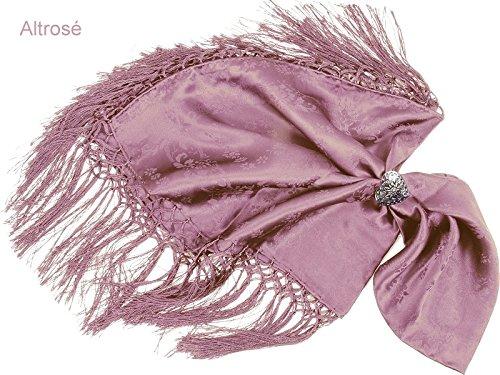Trachtentuch/Dirndltuch Damen 100% Seide - Seidentuch mit Fransen - Trachtenseidentuch - Rosa/Altrosé