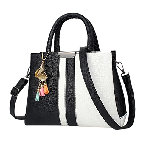 asche Handtasche Damen Mode Frauen Rose Quasten Umhängetasche Messenger Schultertasche Leder Handtasche (Schwarz) ()