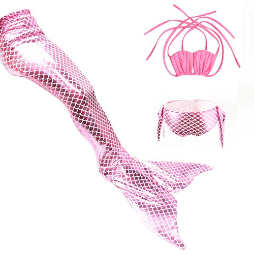 Preisvergleich Produktbild Kinder Meerjungfrau Badeanzug Mädchen Muschel schale Bikini Fischschuppen Schwanz Schwimmanzug Bademode 3tlg